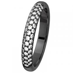 Jonc super bombé 0,43 ct Diamants Rhodiage noir
