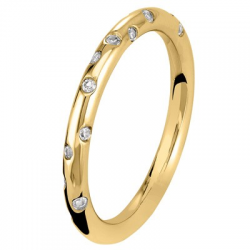 Fil Rond 0,21 ct Diamants 1/2 tour Or jaune