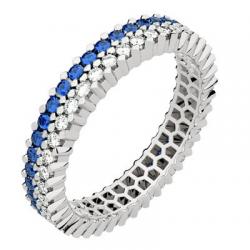 Twin Petit Modèle Diamants & Saphirs Bleus