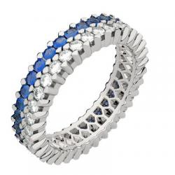 Twin Moyen Modèle Diamants & Saphirs Bleus