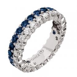 Twin Grand Modèle Diamants & Saphirs Bleus