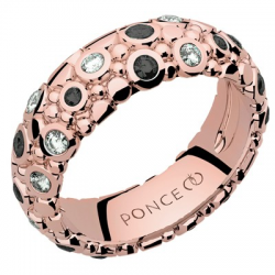 Galucha GM Diamants & Diamants Noirs Or rose