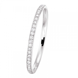 Alliance Jonc Parisien 1 Rang 0,14 ct Diamants Or Blanc