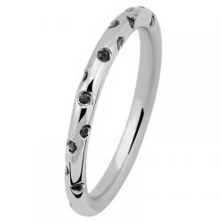 Fil Rond 0.42 ct Diamants noir tour complet Or blanc