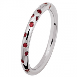 Fil Rond 0.54 ct Saphirs Rouges Tour Complet Or Blanc