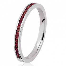 Bonheur Rail 0.50 ct Saphirs rouges Tour complet or blanc