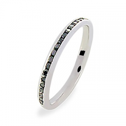 Lyra 0.40 ct Diamants noirs Tour complet Or Blanc