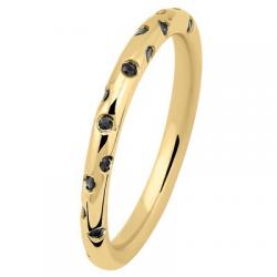 Fil Rond 0.42 ct Diamants noir tour complet Or jaune