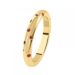 Fil Rond 0.50 ct Saphirs Rouges Tour complet Or Jaune